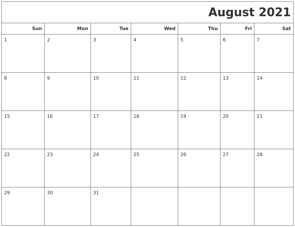 August 2021 Calendars To Print Printable Calendar August 2020 To May 2021