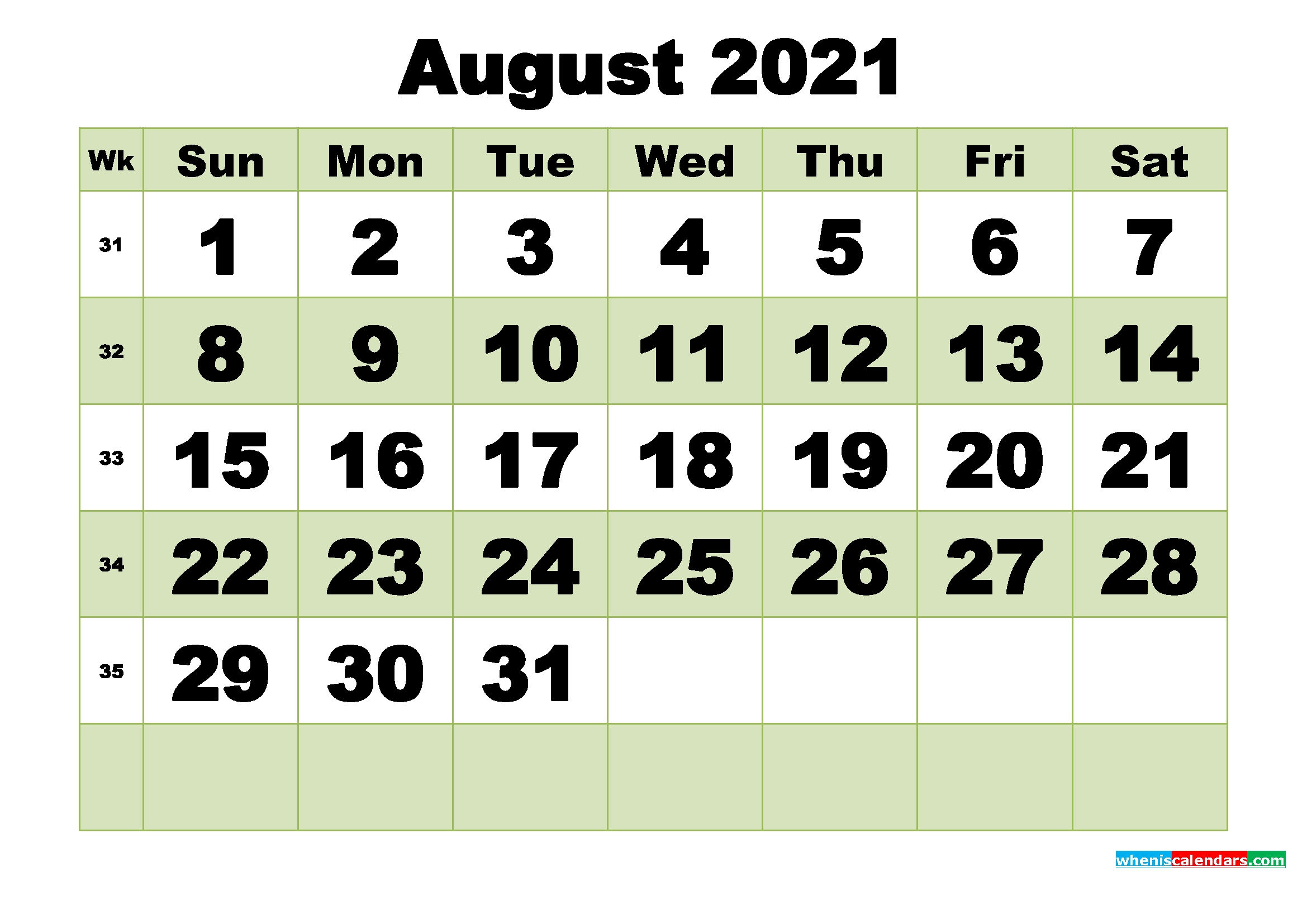 August 2021 Printable Calendar Template | Free Printable 2020 Monthly Calendar With Holidays Printable Calendar August 2020 To May 2021