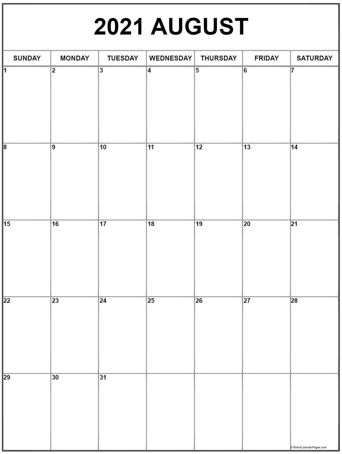 August 2021 Vertical Calendar   Portrait Calendar August 2020 To May 2021