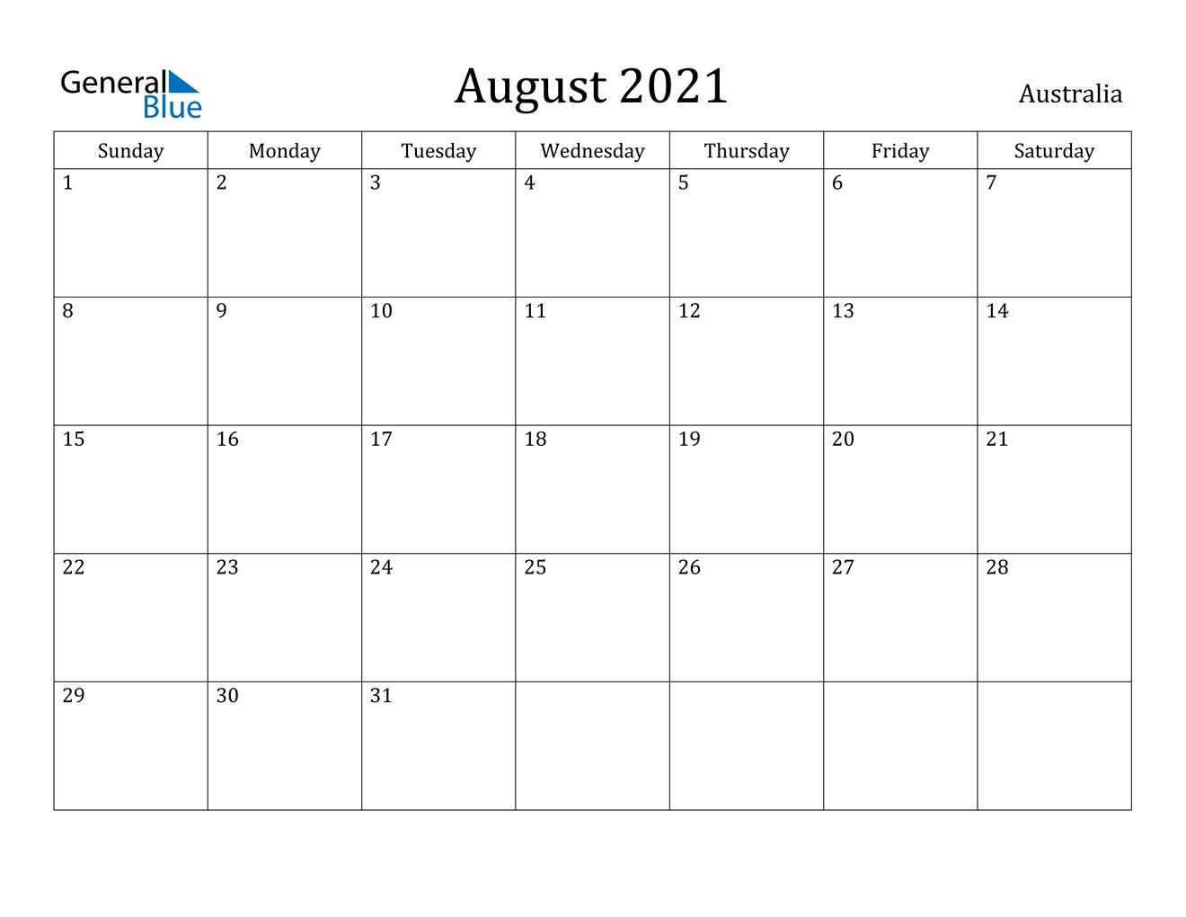 Australia August 2021 Calendar With Holidays Printable Calendar August 2020 To May 2021