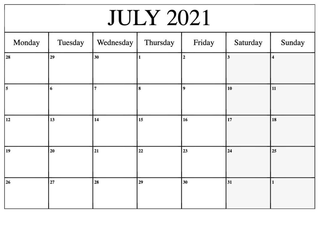 Blank July 2021 Calendar Editable Pdf - Thecalendarpedia February To July 2021 Calendar