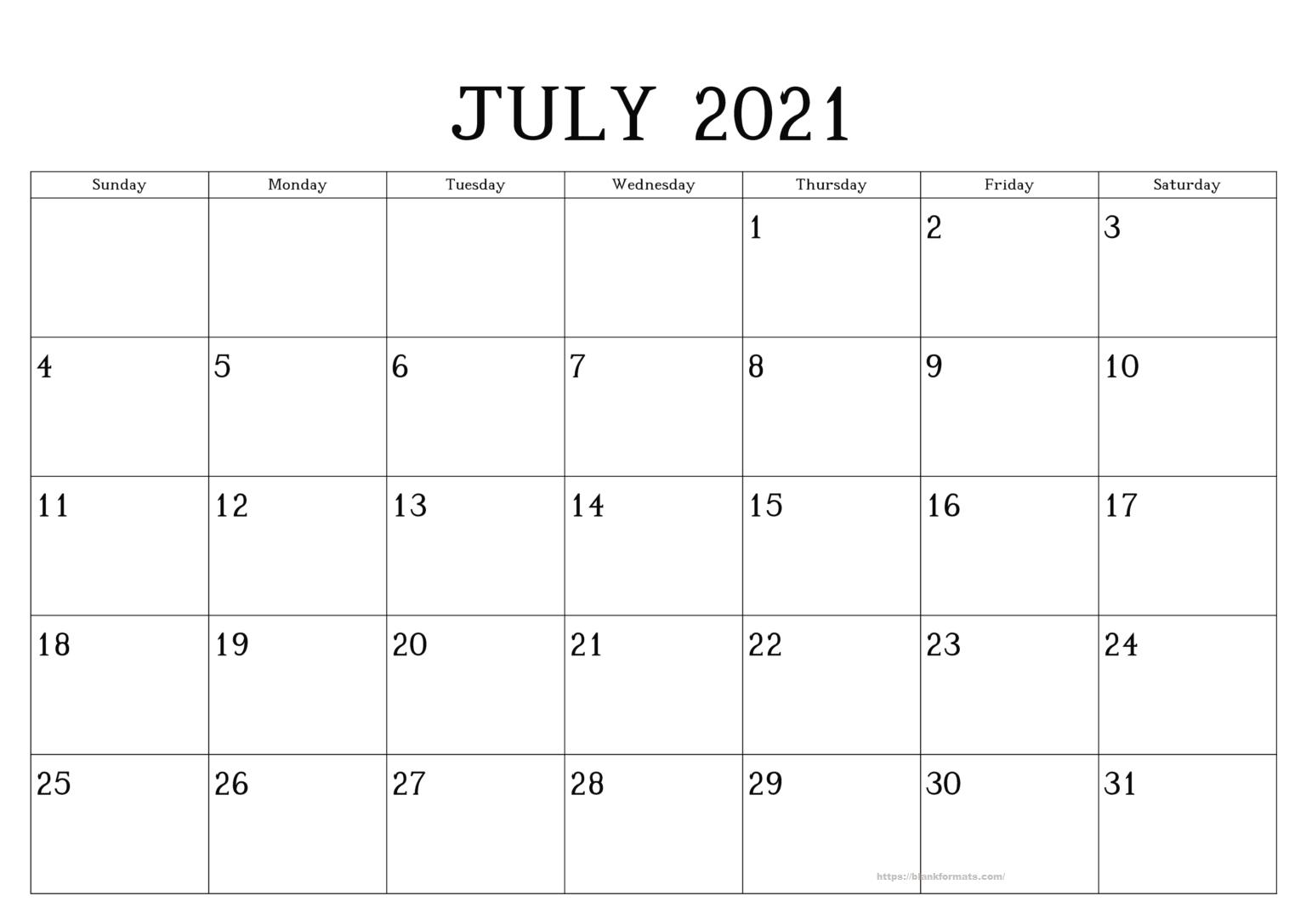 Blank July 2021 Calendar Printable Editable Reminder Editable July 2021 Calendar