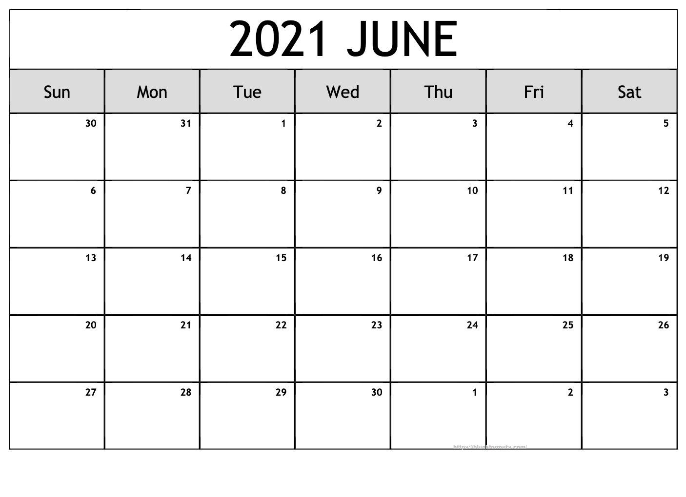 Blank June 2021 Calendar Pdf Download All Format June 2021 Calendar Blank