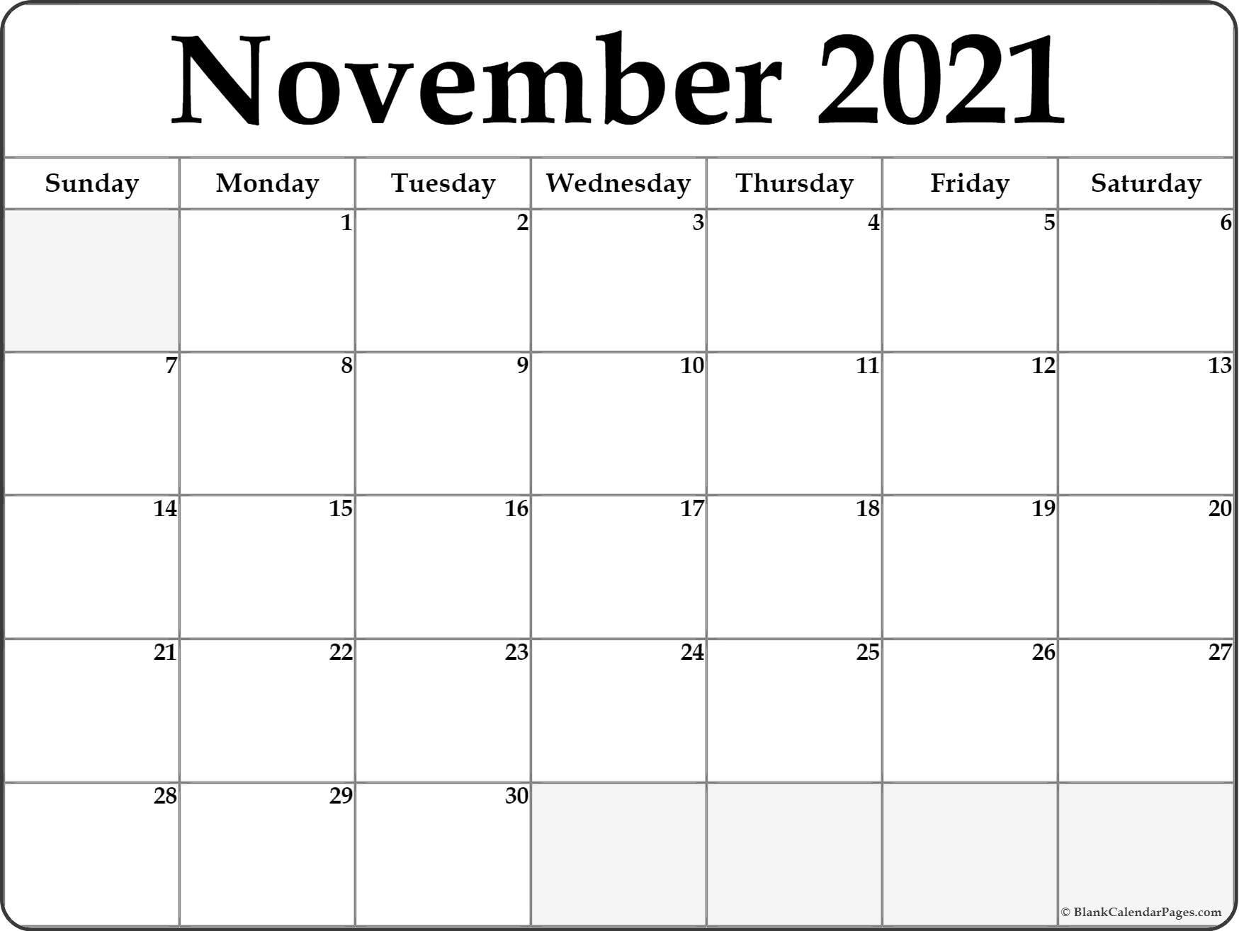 Blank November 2021 Calendar Free Printable   Printable Calendar Printable Calendar For November 2021