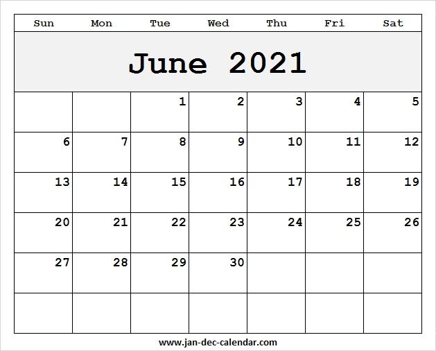 Blank Printable June Calendar 2021 Template Free June 2021 Calendar Blank