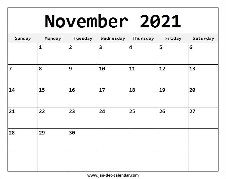 Blank Printable November Calendar 2021 Template Free November 2021 Calendar Quiz