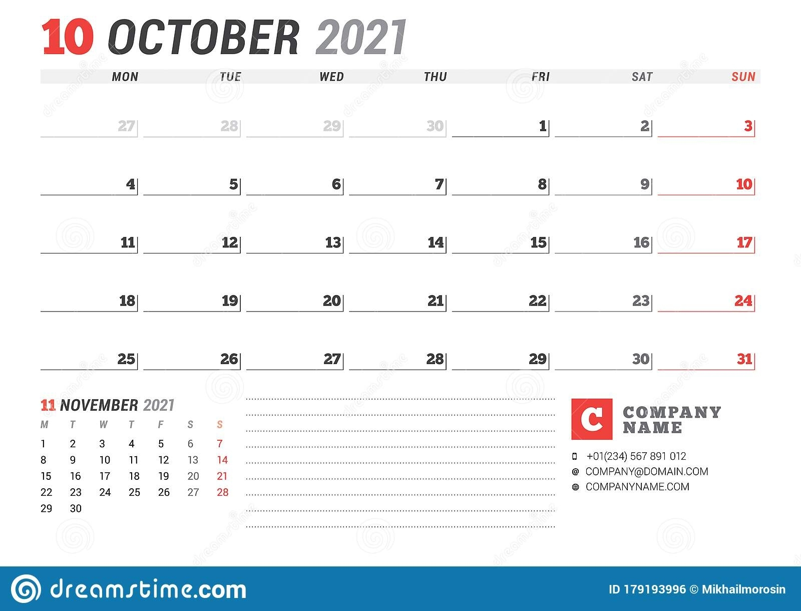 Calendar For October 2021. Business Monthly Planner. Stationery Design. Week Starts On Monday October 2021 Calendar Starting Monday