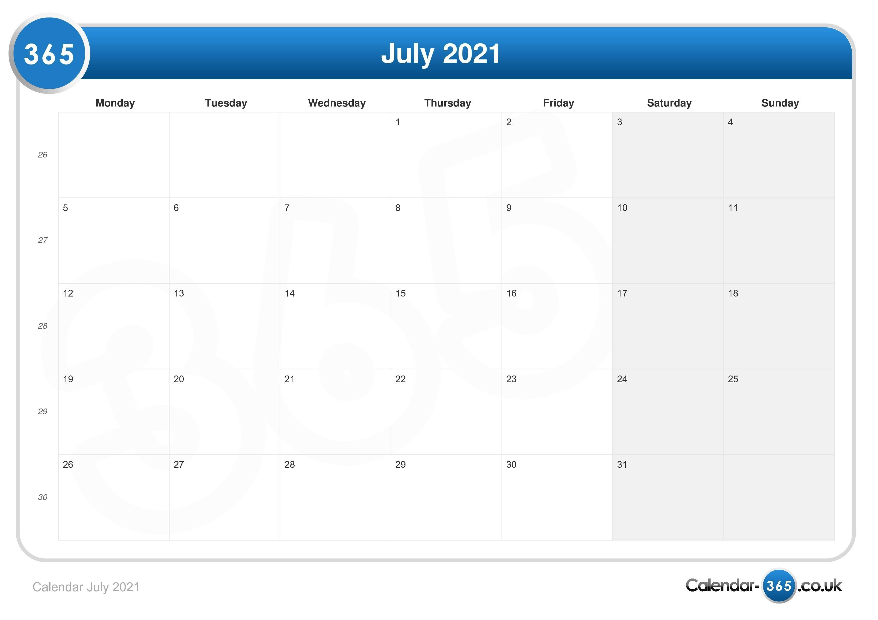 Calendar July 2021 February To July 2021 Calendar