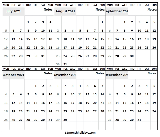 Calendar July To December 2021 - Printable 2021 Calendar Free July 2020 To December 2021 Calendar