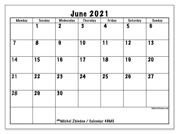 Calendar June 2021 - 48Ms - Michel Zbinden En February March April May June 2021 Calendar