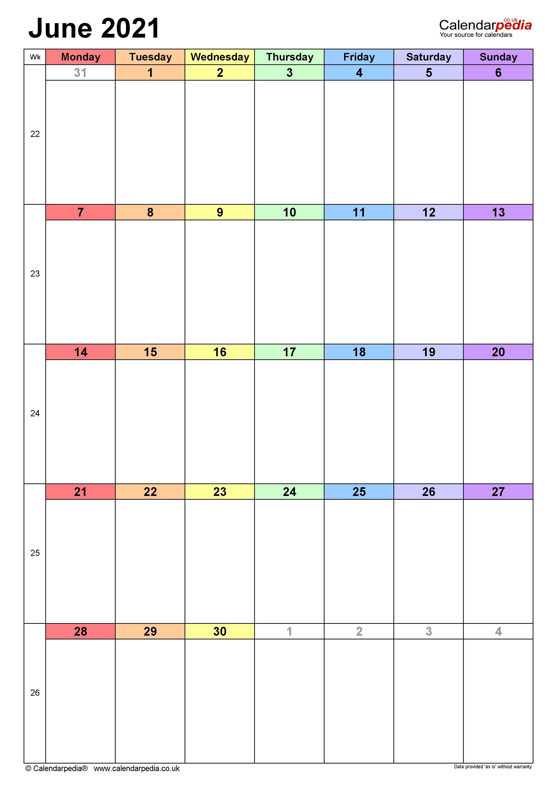 Calendar June 2021 Uk With Excel, Word And Pdf Templates June 2021 Blank Calendar Printable