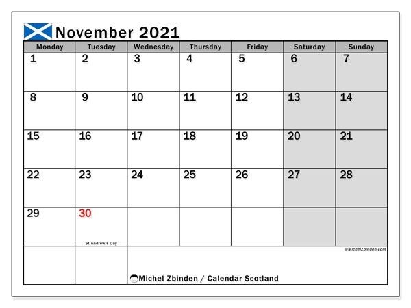 Calendar November 2021 - Scotland - Michel Zbinden En Calendar For November 2021 With Holidays