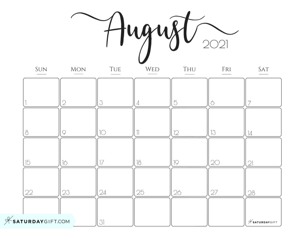 Cute August 2021 Calendar | Printable March Printable Calendar August 2020 To May 2021