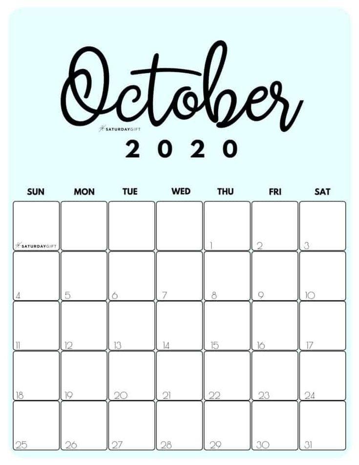 Cute (& Free!) Printable October 2021 Calendar     Saturdaygift In 2020   October Calendar October 2021 Calendar Cute