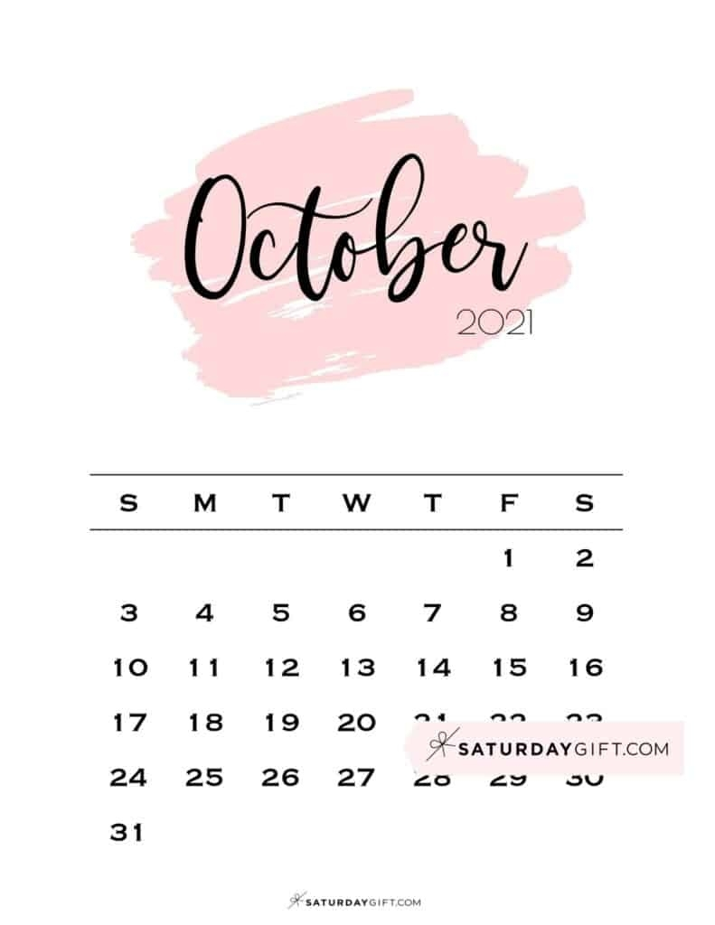Cute (& Free!) Printable October 2021 Calendar     Saturdaygift October 2021 Calendar Cute