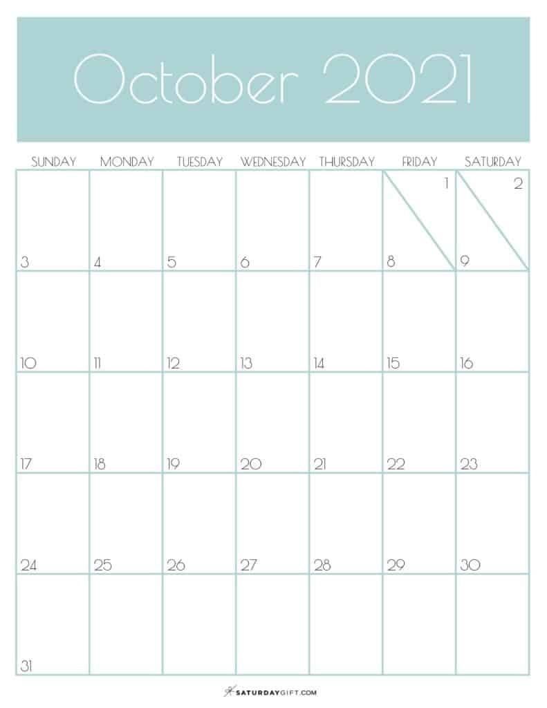 Cute (& Free!) Printable October 2021 Calendar | | Saturdaygift October 2021 Calendar Starting Monday