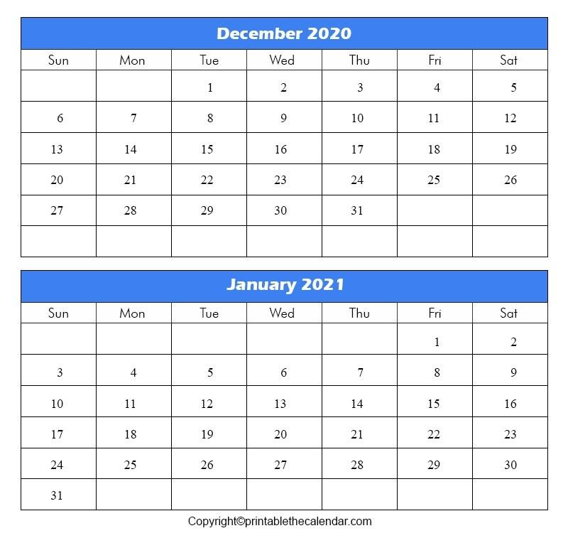 December 2020 January 2021 Calendar | Printable The Calendar Calendar December 2020 January 2021