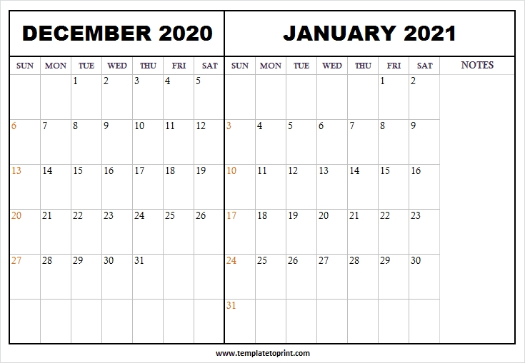 December 2020 January 2021 Calendar Word - Printable Calendar 2020 Calendar December 2020 January 2021