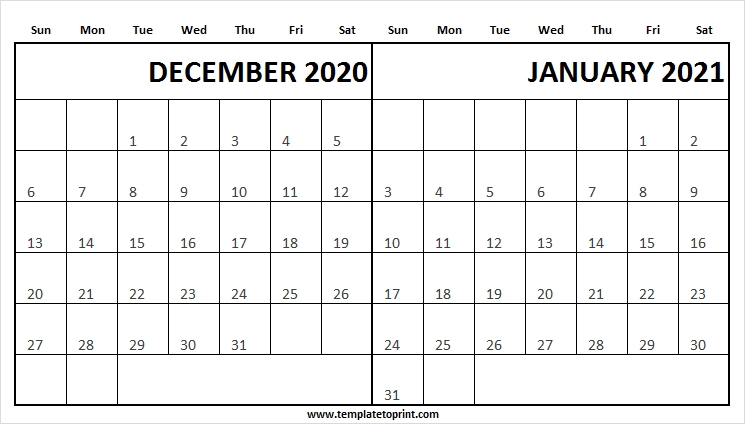 December 2020 January 2021 Printable Calendar - To Do List Calendar December 2020 January 2021