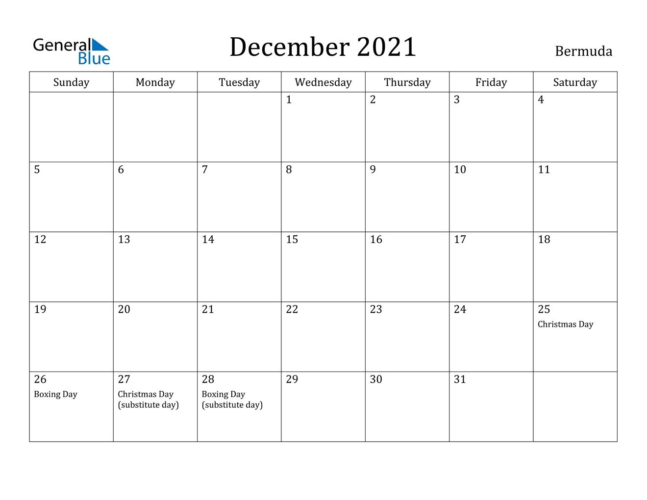 December 2021 Calendar - Bermuda Editable December 2021 Calendar