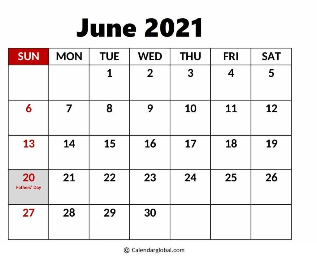 Download Cute Blank Printable Holiday Calendar For June 2021 June 2021 Calendar Holidays