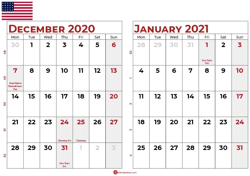 Download Free Calendar For December 2020 And January 2021 Calendar December 2020 January 2021
