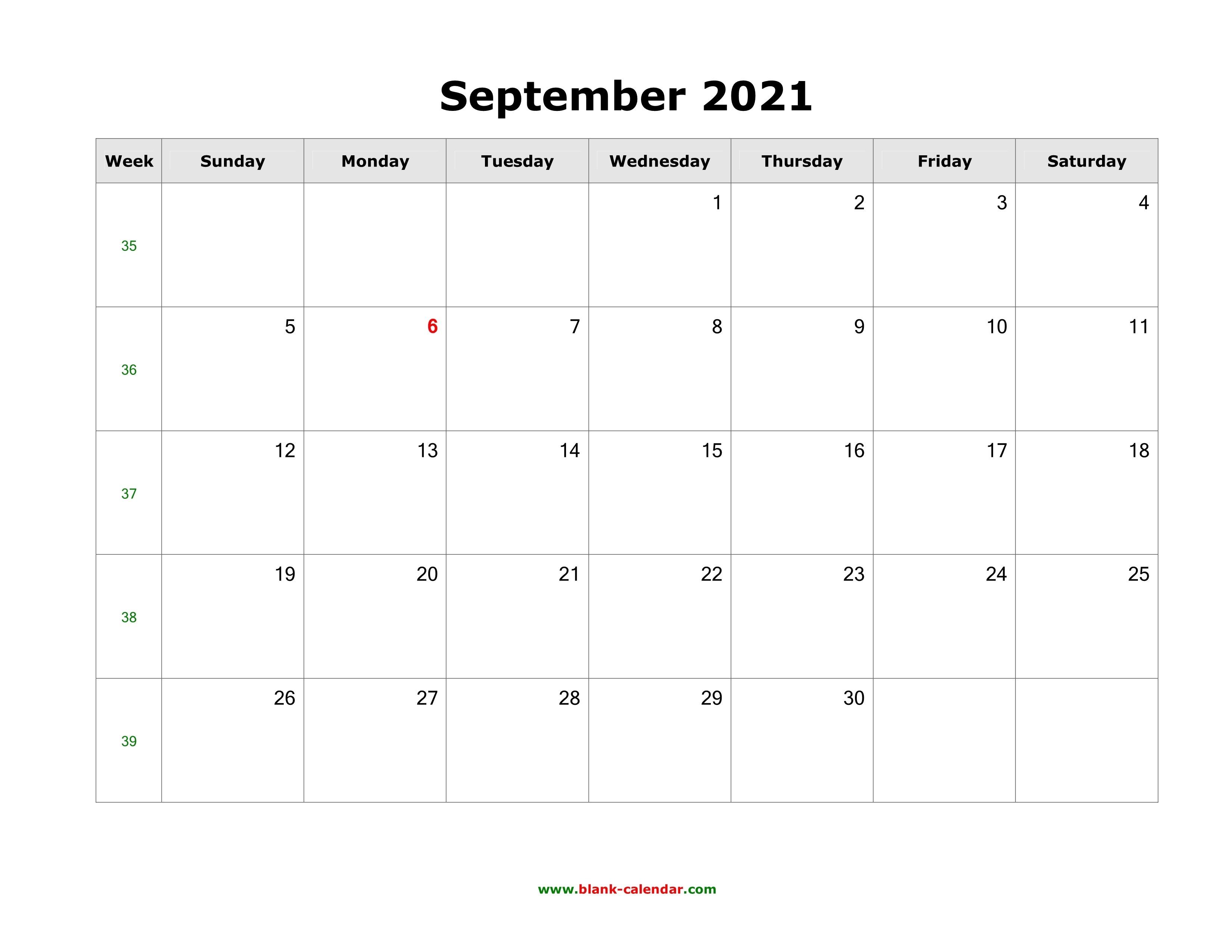 Download September 2021 Blank Calendar (Horizontal) 2021 Calendar September Month