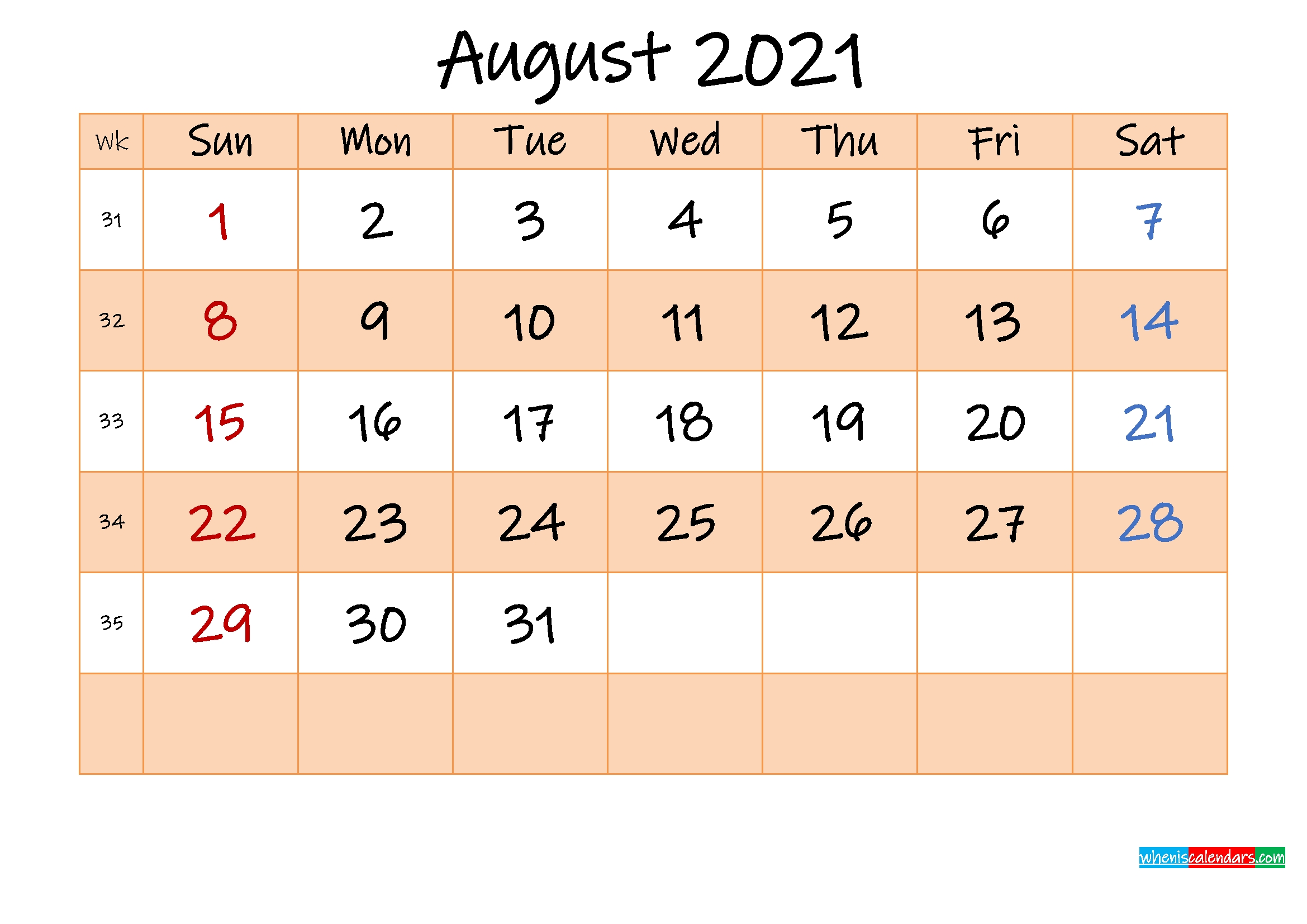Editable August 2021 Calendar - Template No.ink21M488   Free Printable 2020 Calendar With Holidays Calendar August 2020 To May 2021