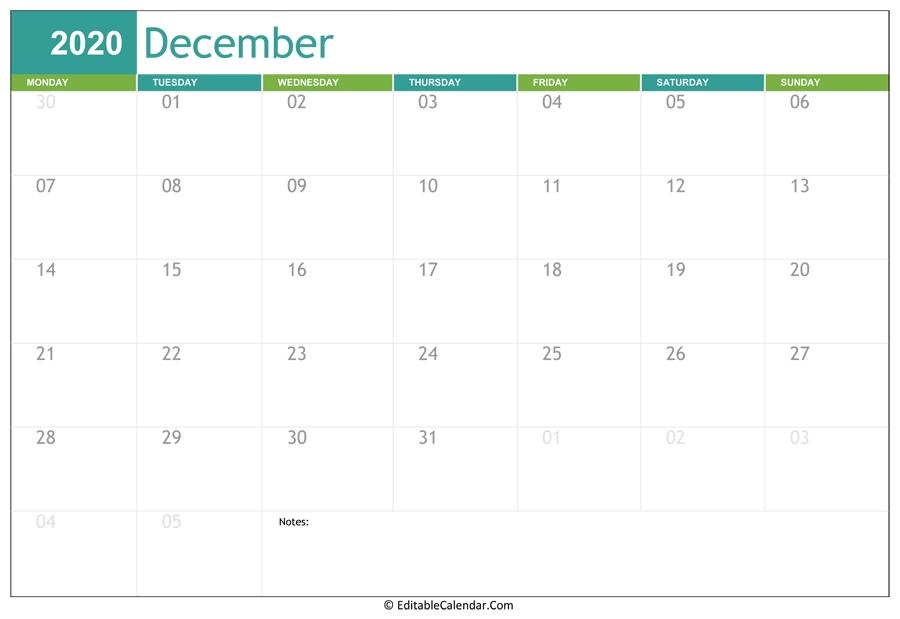 Editable Calendar December 2020 Editable December 2021 Calendar