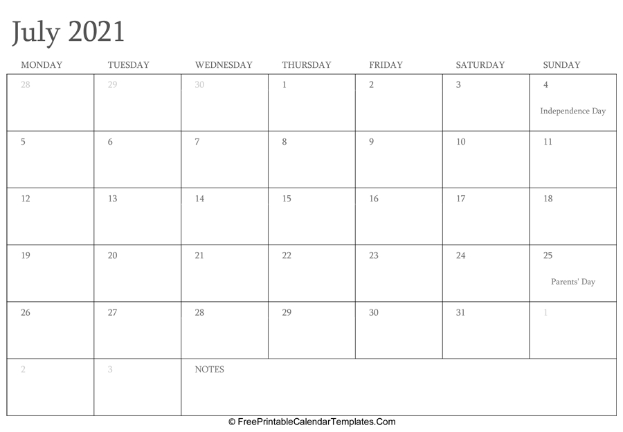 Editable Free Printable 2021 Calendar With Holidays / Yearly Calendar 2021 | Free Download And Editable July 2021 Calendar