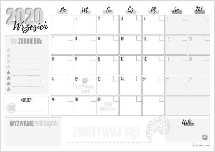 📅 Miesięczny Kalendarz & Planer 2020 Czarno-Biały - Wrzesień 2020 - Do Pobrania Za Free General Blue August 2021 Calendar