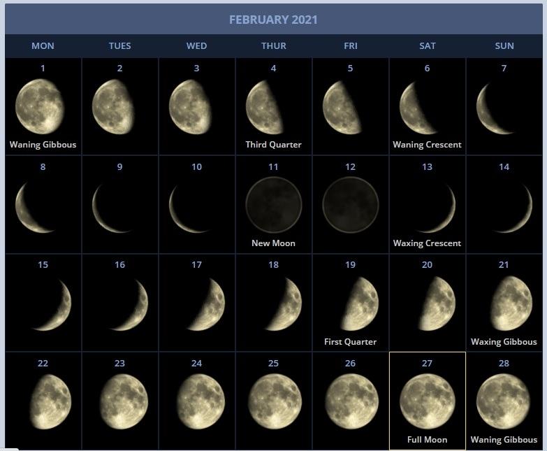 February 2021 Moon Phases Calendar Printable Free Download | Calendarbuzz July 2021 Lunar Calendar