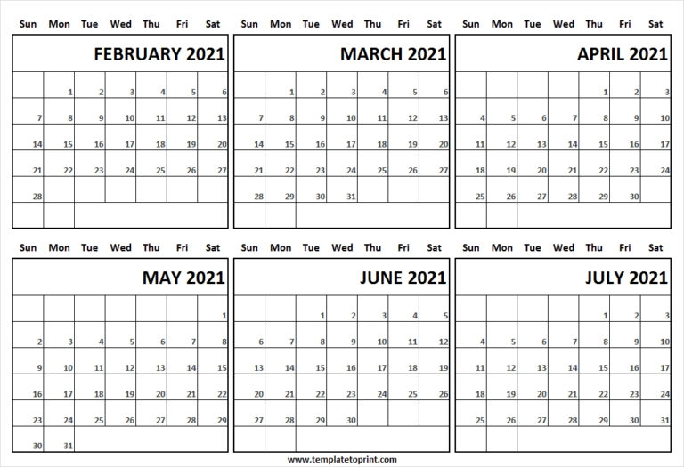 February To July 2021 Calendar Sunday Start   Excel   Pdf   Word   Png February To July 2021 Calendar