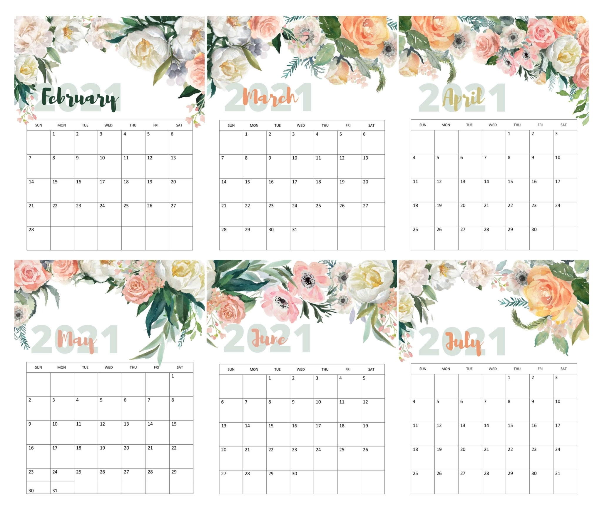February To July 2021 Calendar Templates - Time Management Tools February To July 2021 Calendar February To July 2021 Calendar
