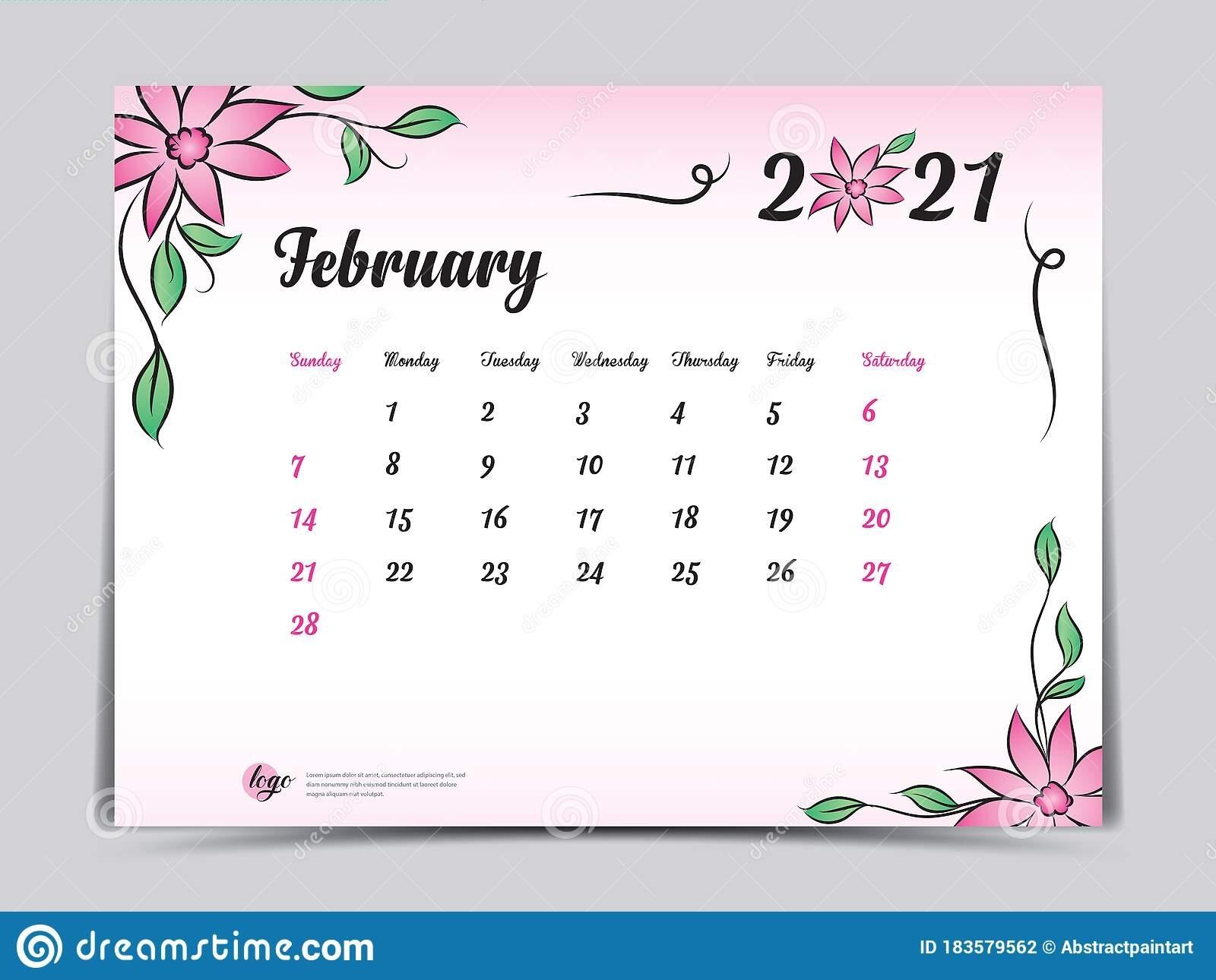 Febuary 2021 Calendar Pink | Empty Calendar August 2021 Calendar Floral