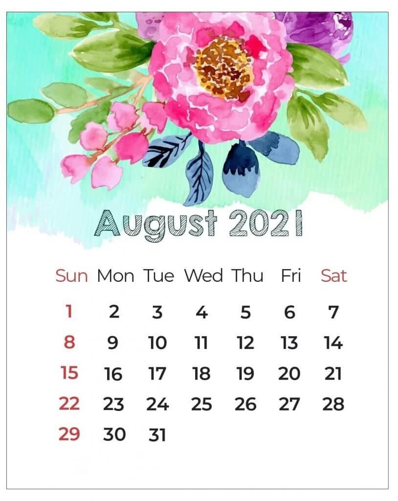 Floral 2021 Printable Calendar August 2021 Calendar Floral