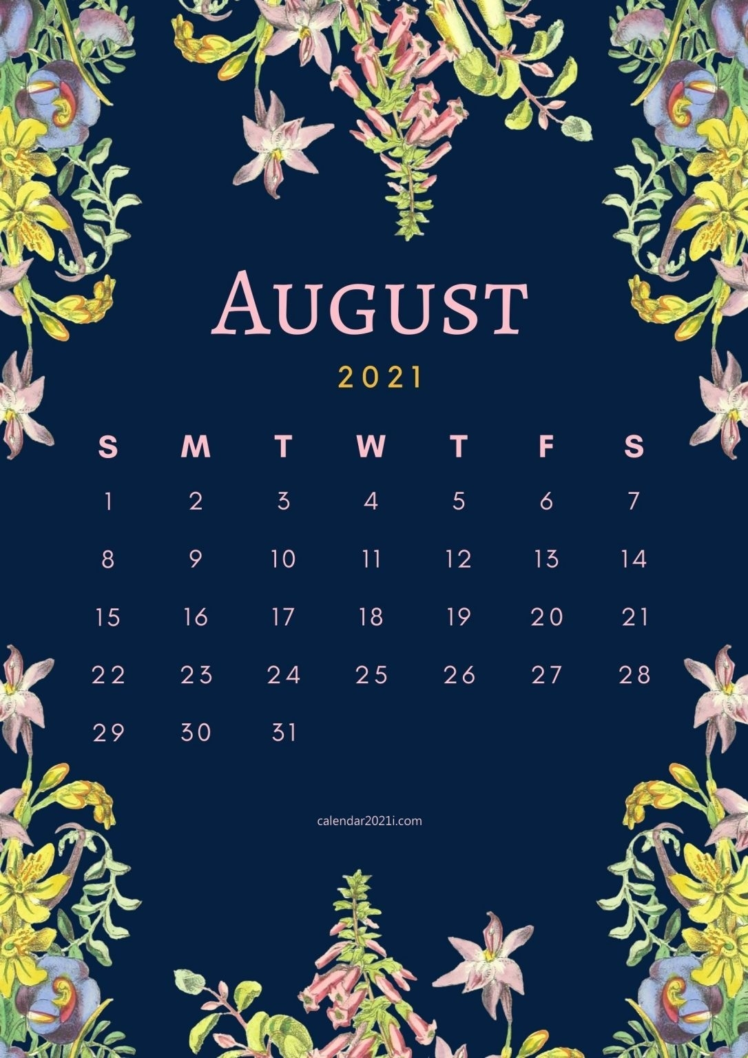 Floral August 2021 Calendar Printable Free Download | Calendar 2021 August 2021 Calendar Floral