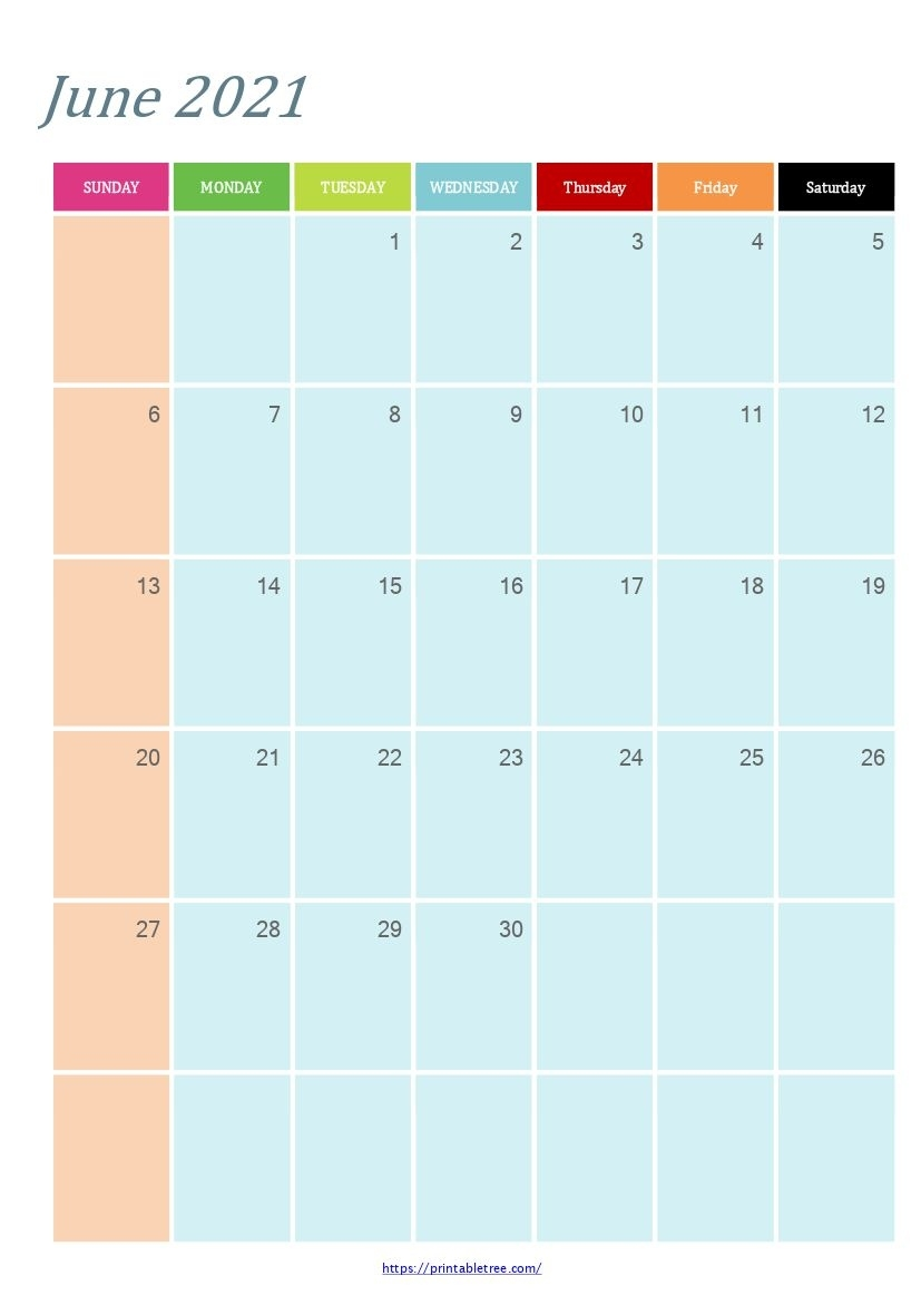 Free Download June 2021 Printable Calendar Templates Pdf June 2021 Blank Calendar Printable