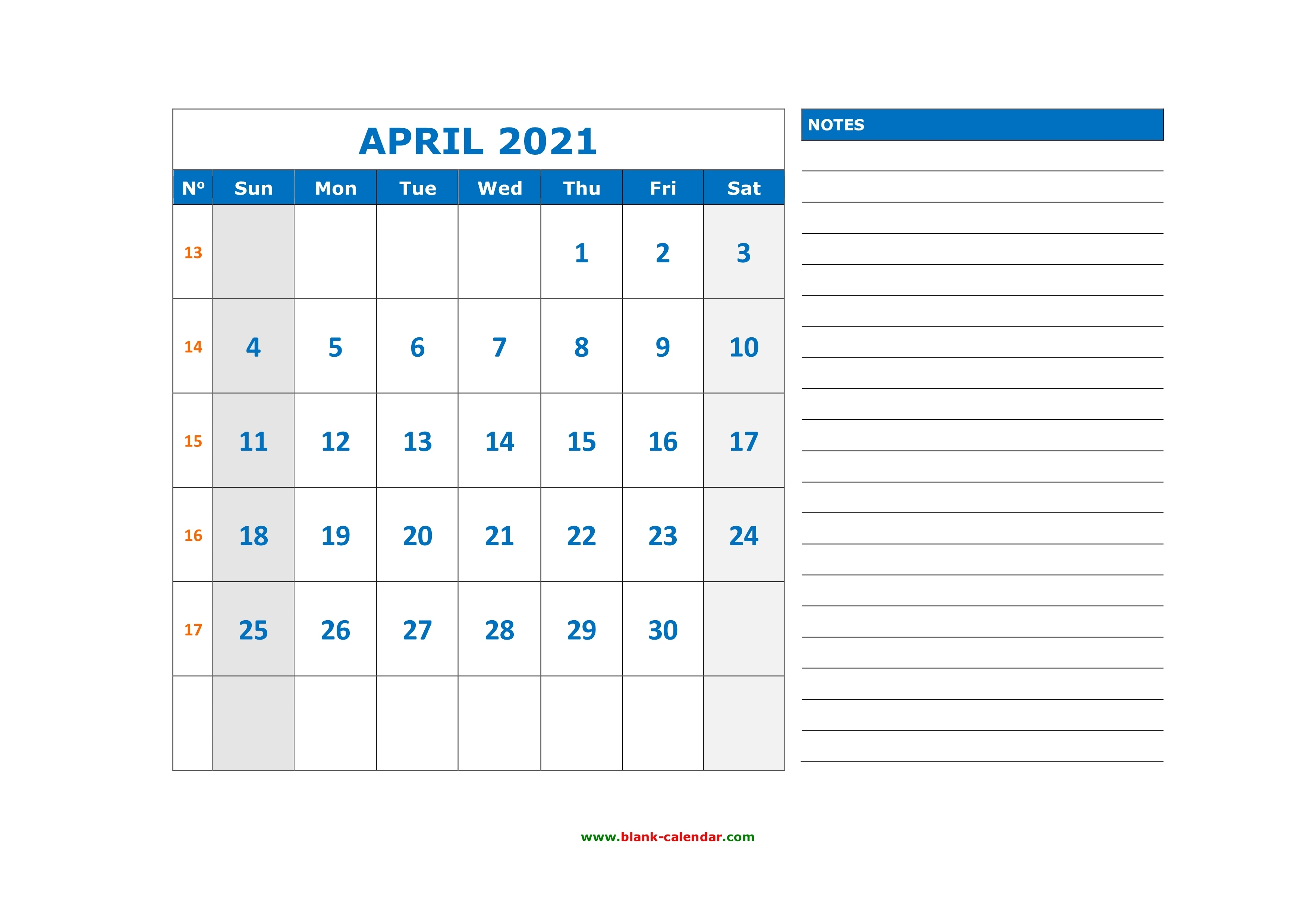 Free Download Printable April 2021 Calendar, Large Space For Appointment And Notes February March April May June 2021 Calendar