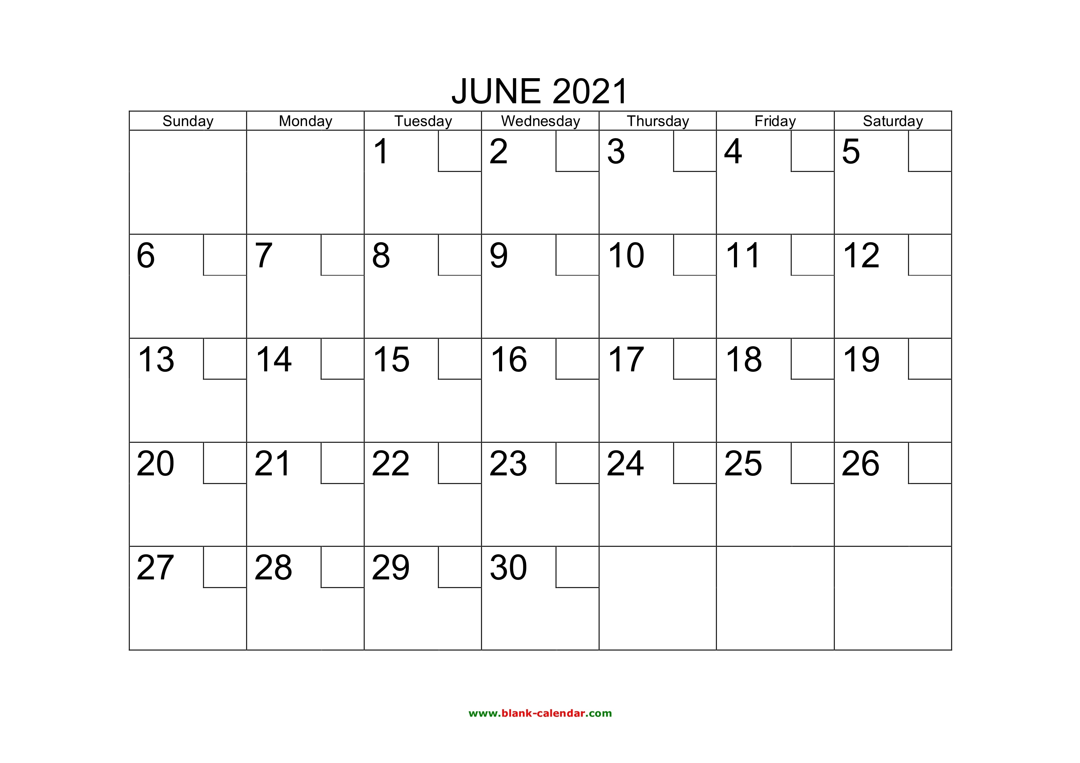 Free Download Printable June 2021 Calendar With Check Boxes June 2021 Blank Calendar Printable