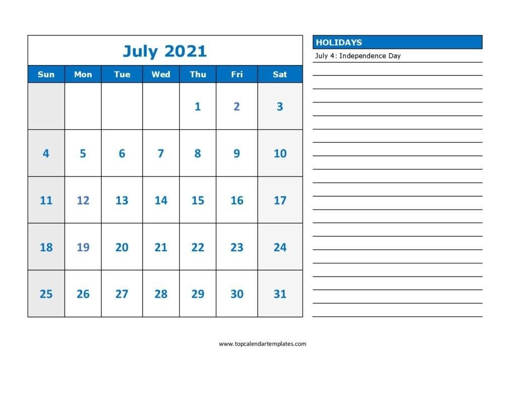 Free July 2021 Calendar Printable (Pdf, Word) Templates Editable July 2021 Calendar