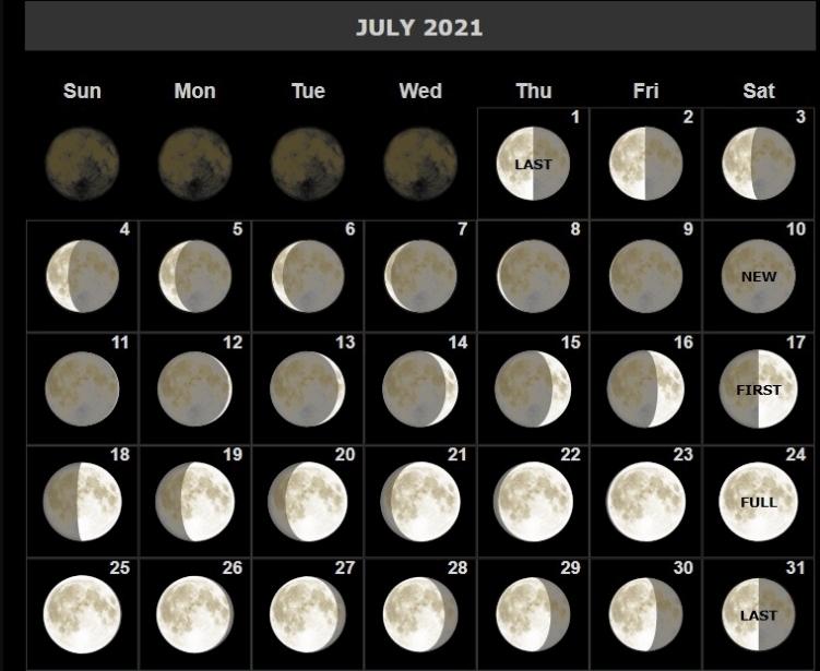 Free July 2021 Moon Calendar Phases Templates Lunar Calendar September 2021
