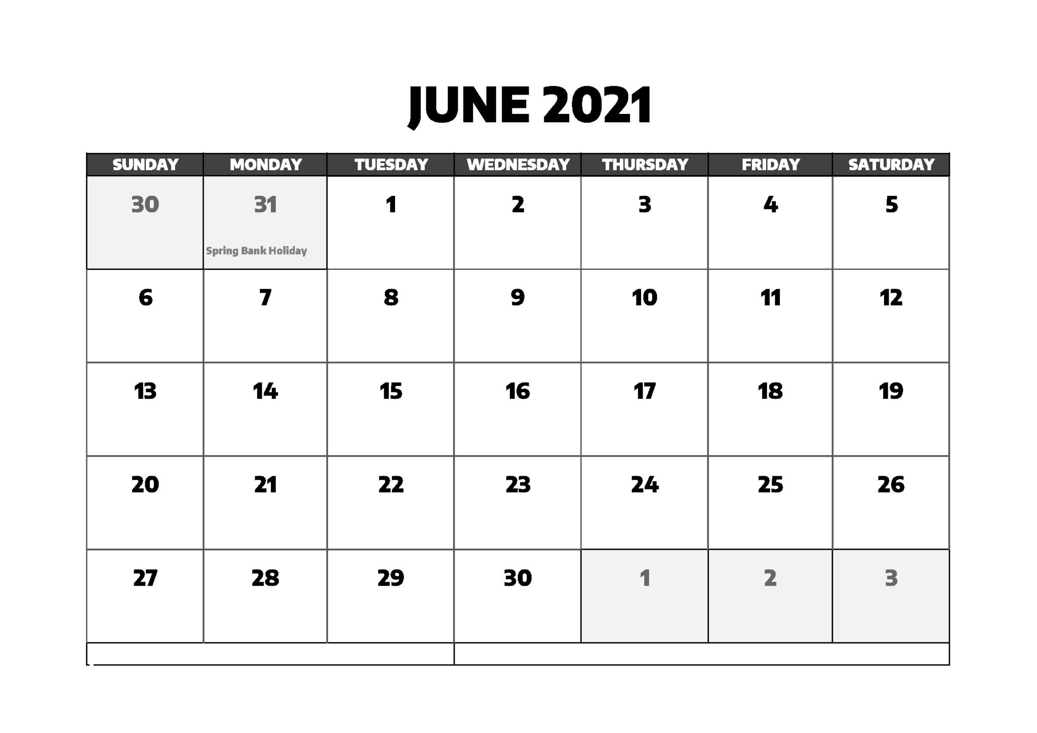 Free June 2021 Calendar With Holidays - Thecalendarpedia June 2021 Calendar Holidays