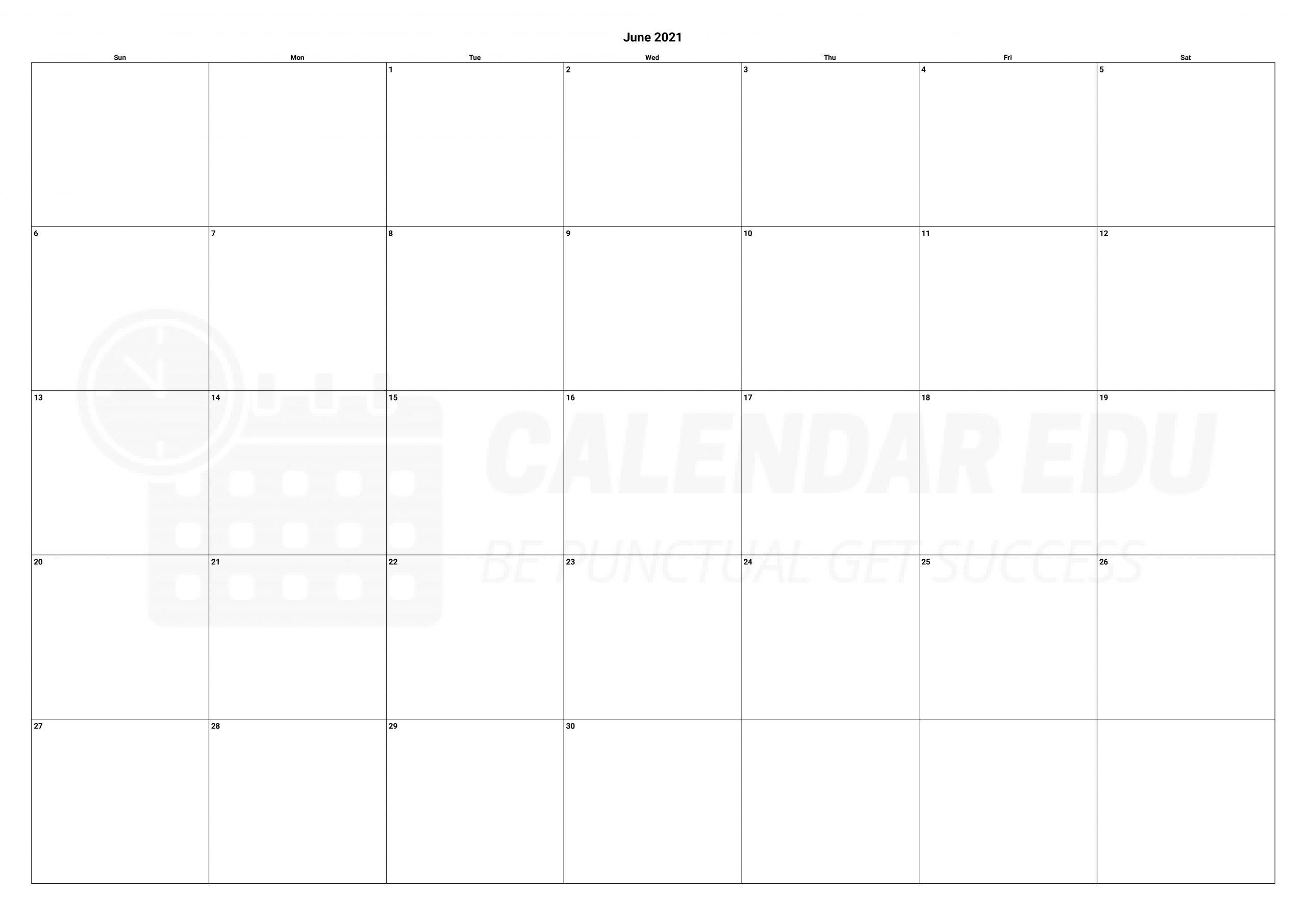 Free June 2021 Calendars | 2021 Blank Printable Templates June 2021 Calendar Blank