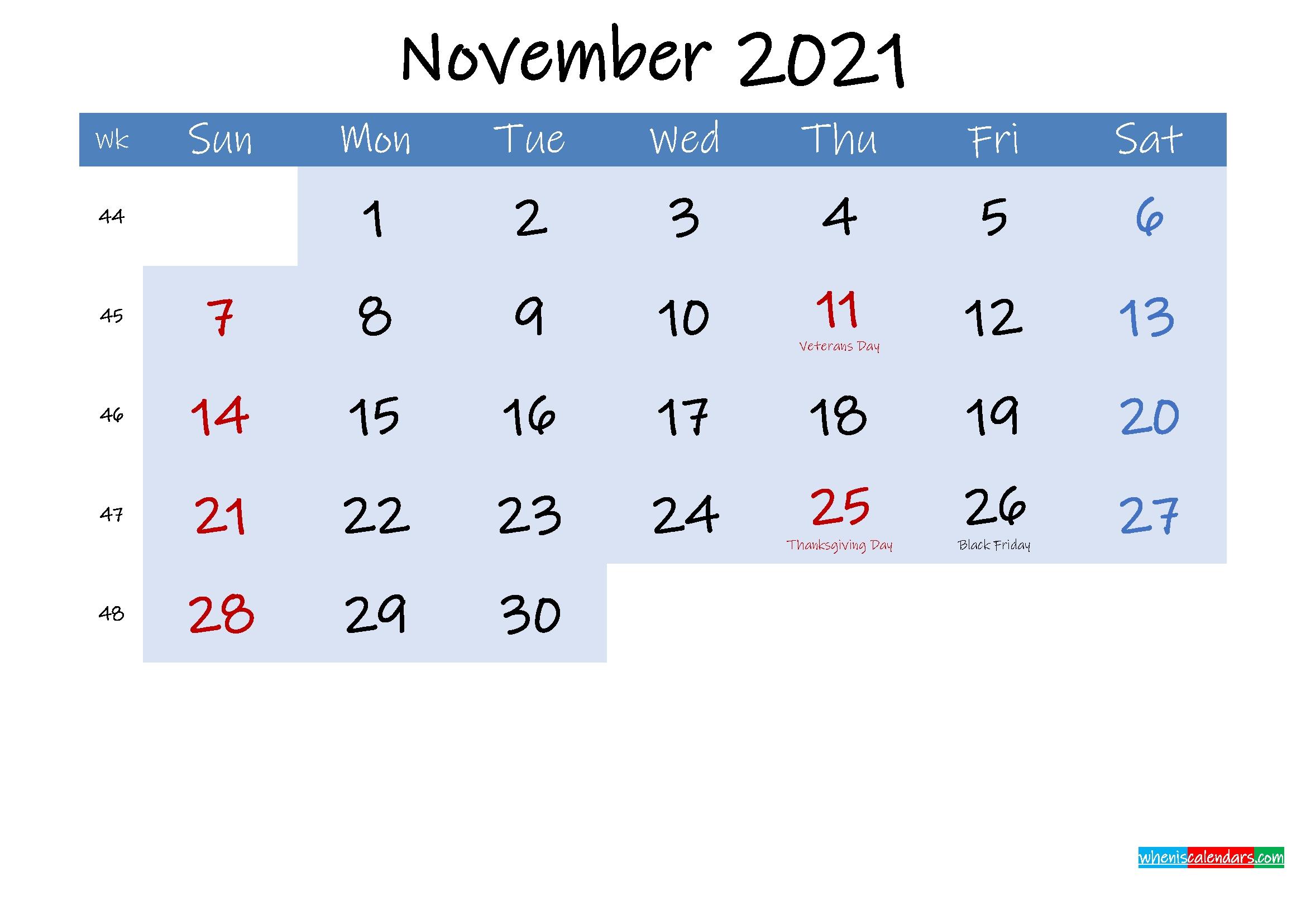 Free November 2021 Monthly Calendar Pdf - Template Ink21M191 - 2021 Calendar Printable Printable Calendar For November 2021
