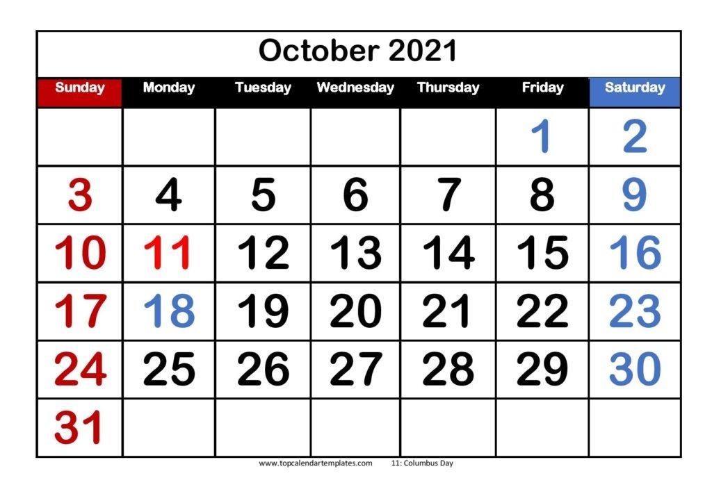Free October 2021 Calendar Printable (Pdf, Word) Templates October 2021 Calendar To Print