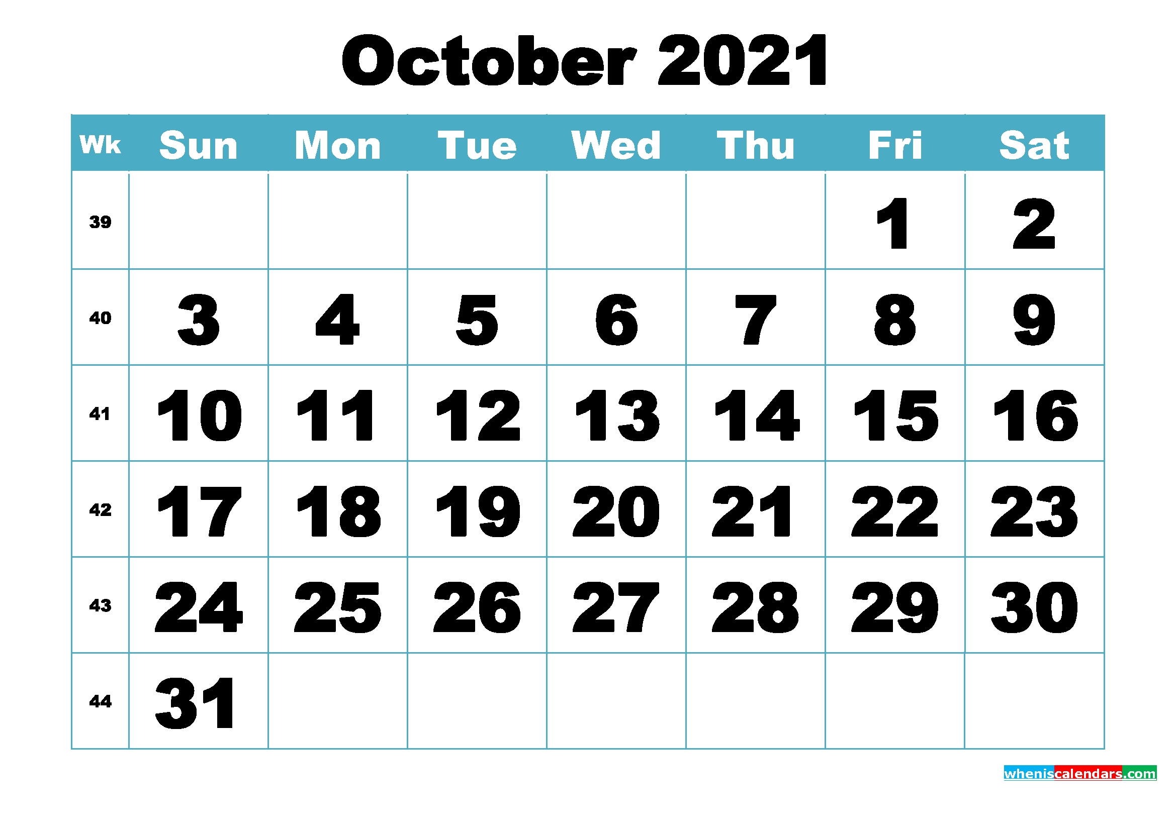 Free October 2021 Printable Monthly Calendar Template - Free Printable 2021 Monthly Calendar October 2021 Calendar To Print