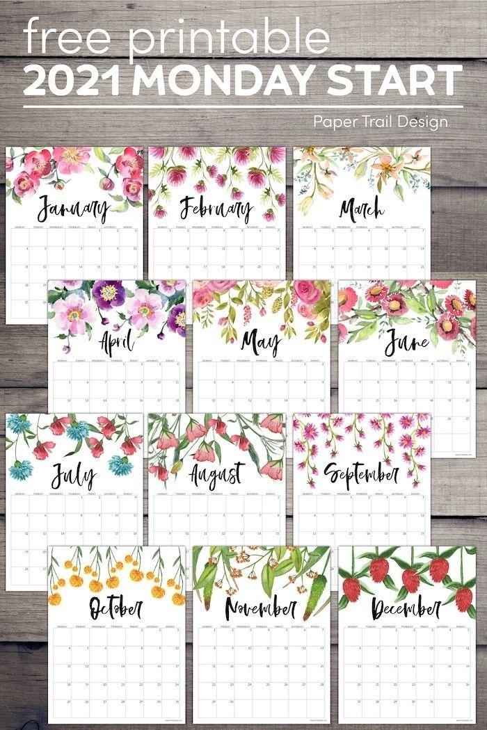 Free Printable 2021 Floral Calendar - Monday Start | Paper Trail Design In 2020 | Free Printable August 2021 Calendar Floral