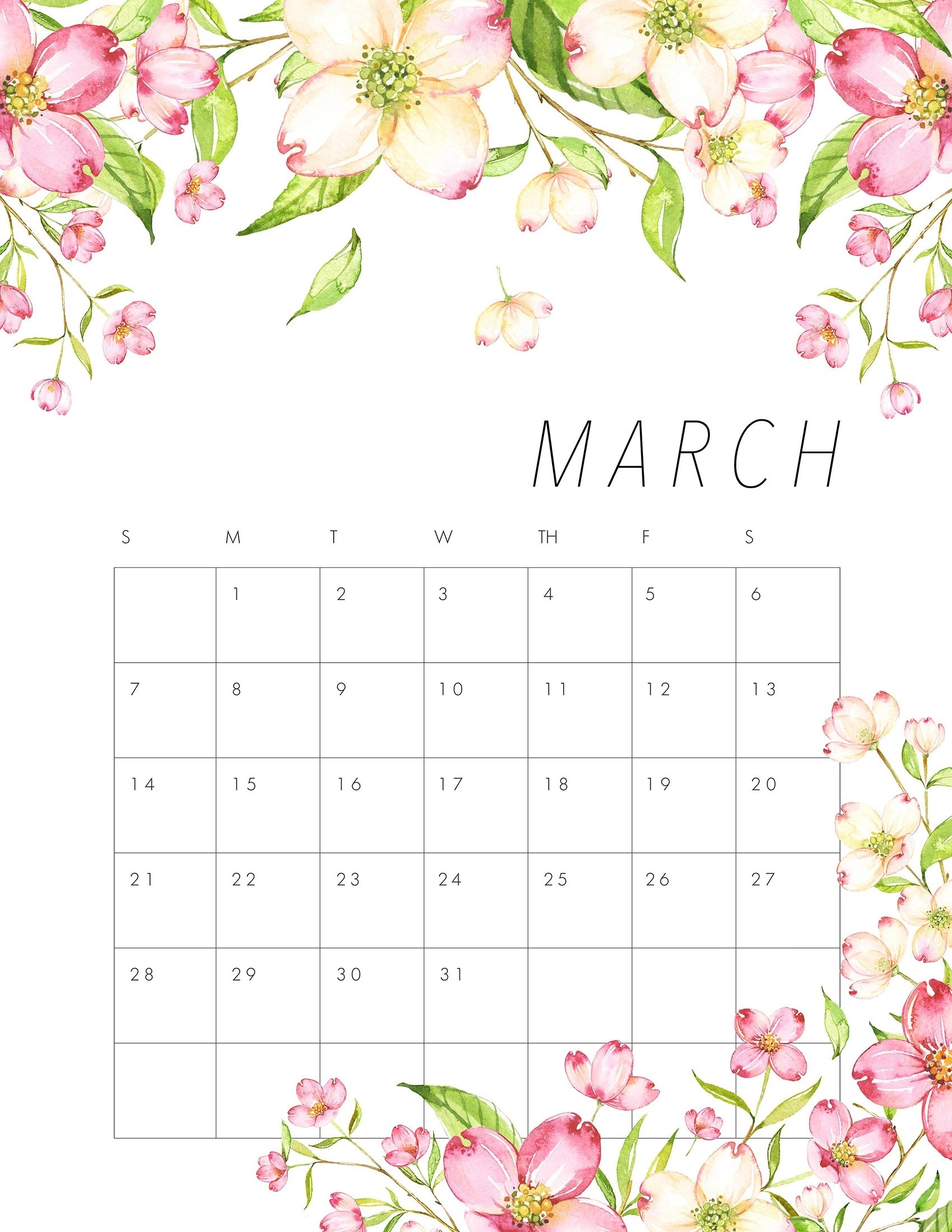 Free Printable 2021 Floral Calendar - The Cottage Market August 2021 Calendar Floral