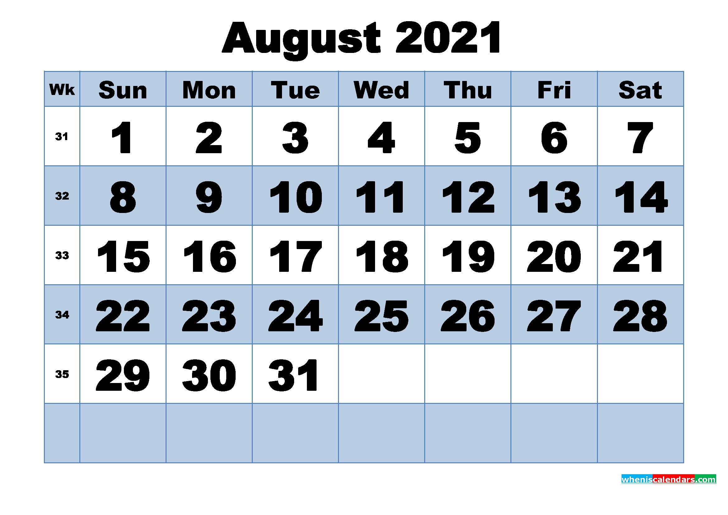 Free Printable August 2021 Calendar With Week Numbers - Free Printable 2020 Monthly Calendar Calendar August 2020 To May 2021
